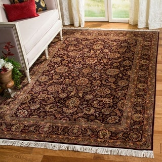 Safavieh Couture Royal Kerman Hand-Knotted Plum/ Beige Wool Area Rug (6' x 9')