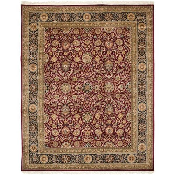 Asian Hand-Knotted Royal Kerman Red-and-Blue Wool Area Rug (4' x 6')