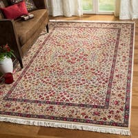 Handmade Safavieh Couture Royal Kerman Ivory Wool Area Rug - 8' x 10' (China)