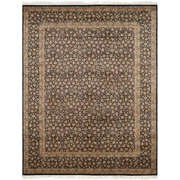 Handmade Safavieh Couture Royal Kerman Navy Blue Wool Area Rug - 9' x 12' (China, People's Republic of)