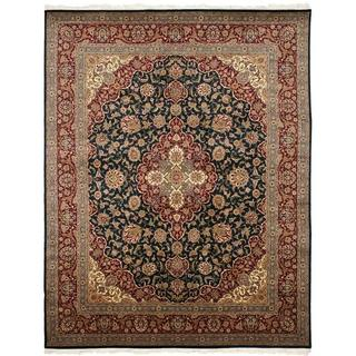Asian Hand-knotted Royal Kerman Navy and Red Wool Rug (8' x 10')