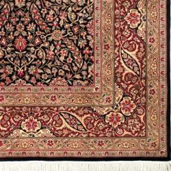 Asian Hand-knotted Royal Kerman Black and Red Wool Rug (8' x 10') - Thumbnail 1