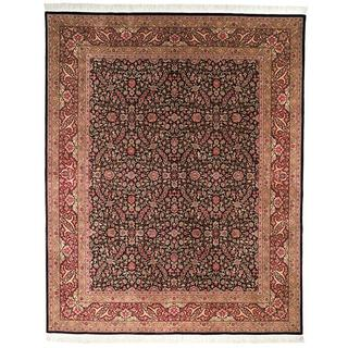Handmade Safavieh Couture Royal Kerman Black/ Red Wool Area Rug (China) - 8' x 10'