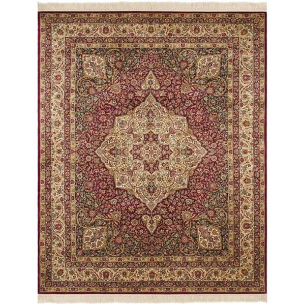 Asian Hand-knotted Royal Kerman Red/ Ivory Wool Rug (6' x 9')