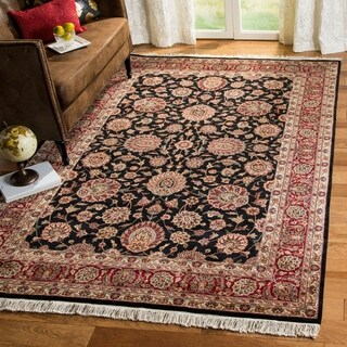 Safavieh Couture Royal Kerman Hand-Knotted Black/ Red Wool Area Rug - 6' x 9'