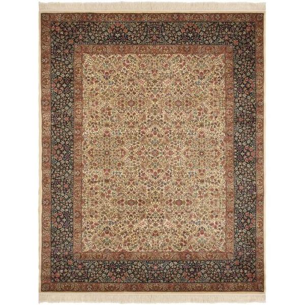 Asian Hand-knotted Royal Kerman Ivory/ Blue Wool Rug (8' x 10')