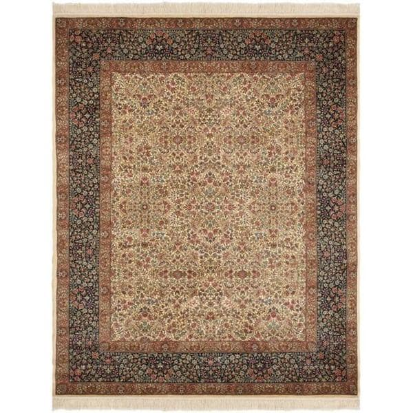 Safavieh Couture Royal Kerman Hand-Knotted Ivory/ Blue Wool Area Rug (9' x 12')