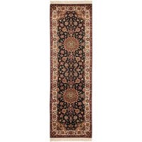 Safavieh Couture Royal Kerman Hand-Knotted Black/ Ivory Wool Area Rug - 2'6 x 12'