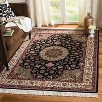Safavieh Couture Royal Kerman Hand-Knotted Black/ Ivory Wool Area Rug - 6' x 9'