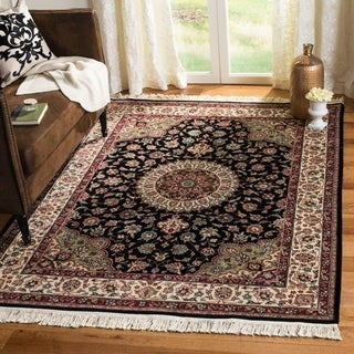 Asian Hand-knotted Royal Kerman Black and Ivory Wool Rug (9' x 12')