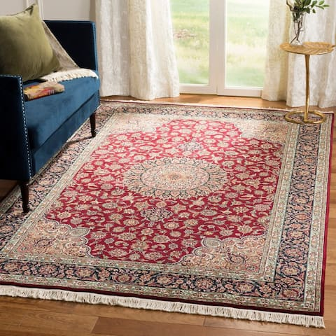 Asian Hand-Knotted Royal Kerman Traditional Red-and-Blue Wool Rug (6' x 9') - 6' x 9'