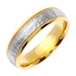 14k Two-tone Gold Men's Hammered Wedding Band - Thumbnail 1