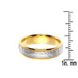 14k Two-tone Gold Men's Hammered Wedding Band - Thumbnail 2
