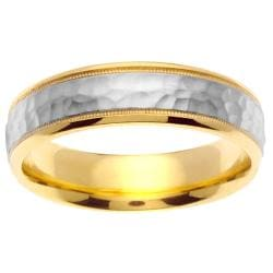 14k two tone gold mens hammered wedding band