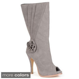 Journee Collection Women's 'Versace-6' Mid-Calf High Heel Peep Toe Boot