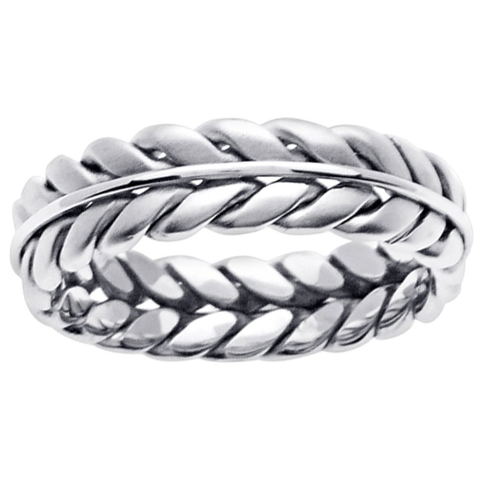 14k White Gold Men's Wheat Wedding Band