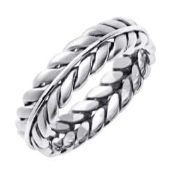 14k White Gold Men's Wheat Wedding Band - Thumbnail 1