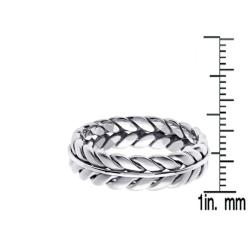14k White Gold Men's Wheat Wedding Band - Thumbnail 2
