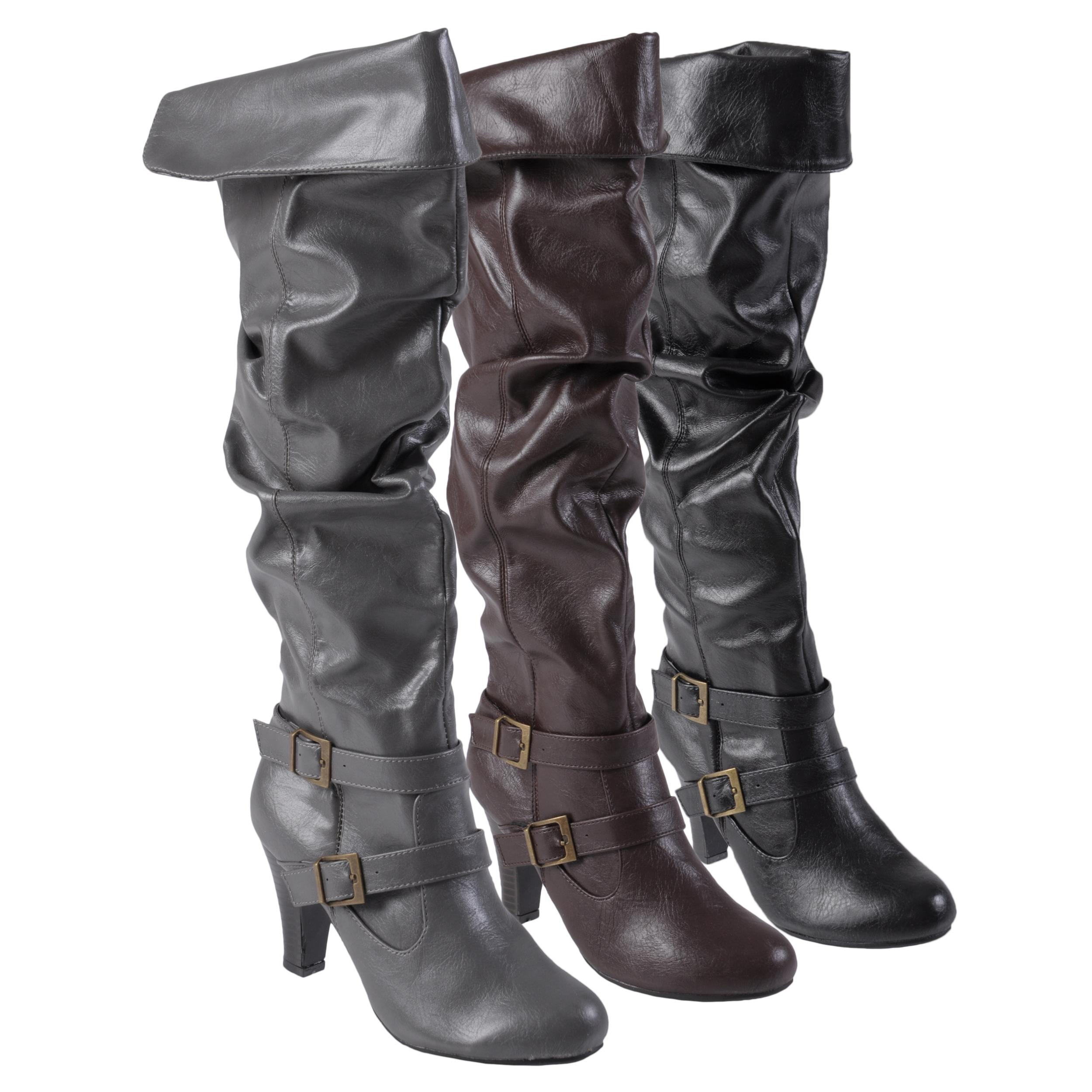 826de89b118fe Shop Journee Collection Women's 'Venus-95' Cuffed Accent Faux Leather Boots  - Free Shipping On Orders Over $45 - Overstock - 6191426