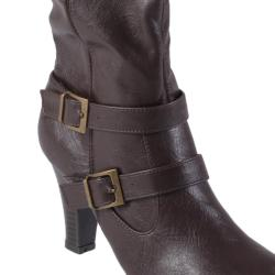 Journee Collection Women's 'Venus-95' Cuffed Accent Faux Leather Boots