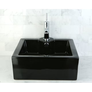 Black Vitreous China Table Mount Bathroom Sink