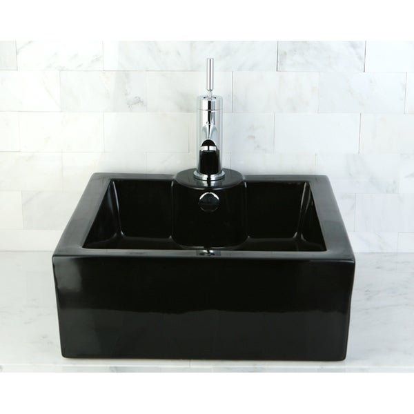 Bathroom Sinks Overstock black vitreous china table mount bathroom sink - free shipping