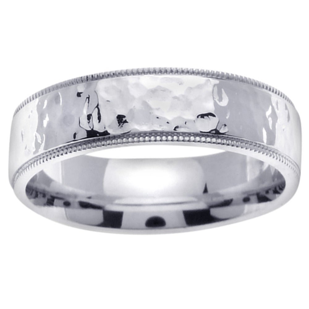 14k White Gold Men's Hammered Wedding Band - Thumbnail 0