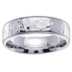 14k White Gold Mens Hammered Wedding Band Free Shipping Today