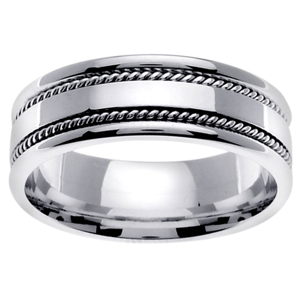 14k white gold mens double rope design wedding band