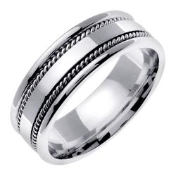 14k White Gold Men's Double Rope Design Wedding Band