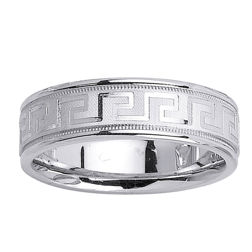 14k White Gold Men's Greek Key Design Wedding Band