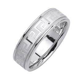 14k White Gold Men's Greek Key Design Wedding Band - Thumbnail 1