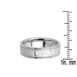 14k White Gold Men's Greek Key Design Wedding Band - Thumbnail 2