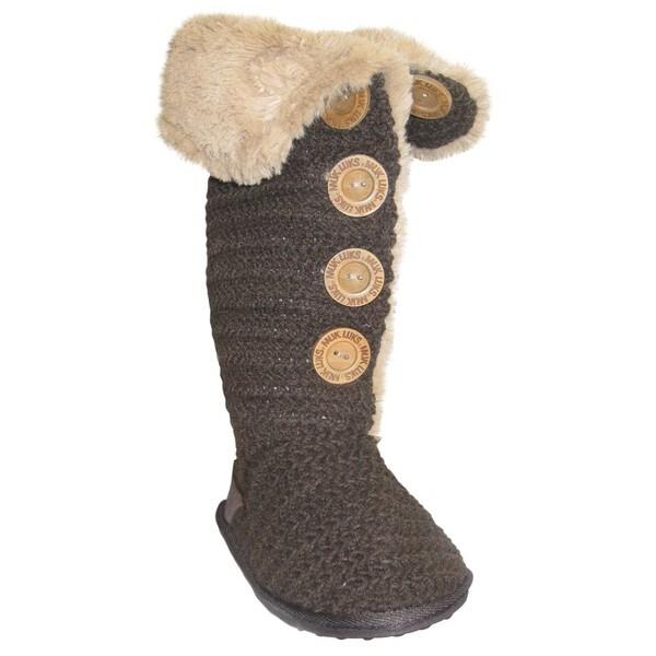 Muk Luks Women S Brown Crochet Button Up Faux Fur Boots