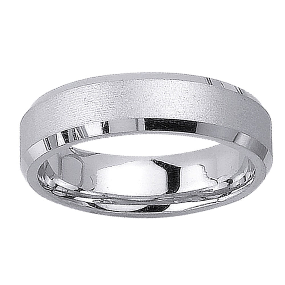 14k White Gold Menu0026#39;s Satin Wedding Band - Free Shipping Today - Overstock.com - 13841933