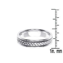 14k White Gold Men's Braided Wedding Band - Thumbnail 2