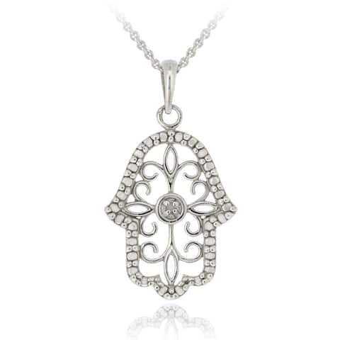 DB Designs Sterling Silver Diamond Accent Filigree Hamsa Necklace