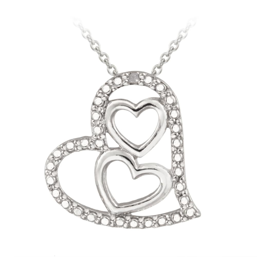 DB Designs Sterling Silver Diamond Accent Triple Heart Necklace