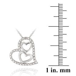 DB Designs Sterling Silver Diamond Accent Triple Heart Necklace - Thumbnail 2
