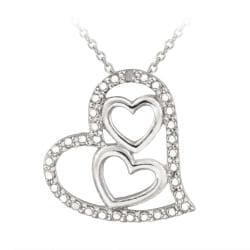 DB Designs Sterling Silver Diamond Accent Triple Heart Necklace - Thumbnail 0