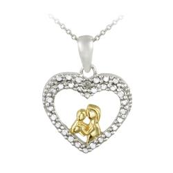 DB Designs Two-tone White Diamond Accent Heart Necklace of mother and child
