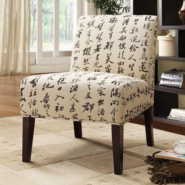 Decor Chinese Script Linen Lounger Chair