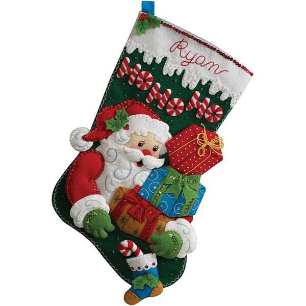 Ho Ho Ho Santa Stocking Felt Applique Kit