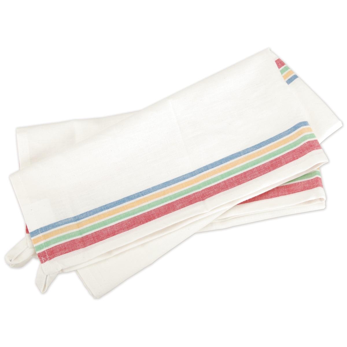 Aunt Martha Vintage Stripe Towel Set (White W/Multi-Strip...
