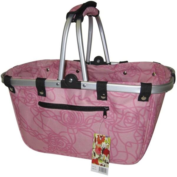 JanetBasket Rosy Large Aluminum/Canvas Basket