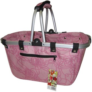 JanetBasket Rosy Large Aluminum/Canvas Basket