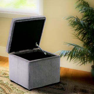 Shop Square Charcoal Gray Microfiber Cube Storage Ottoman