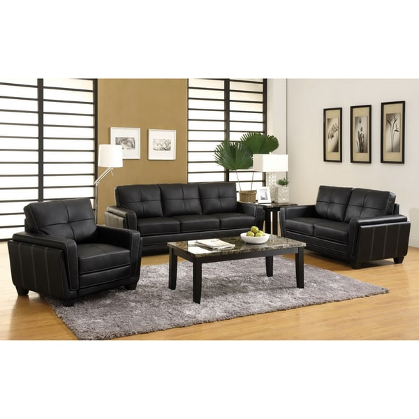 Furniture of America Bedford Black Leatherette Sofa, Loveseat and Chair Set
