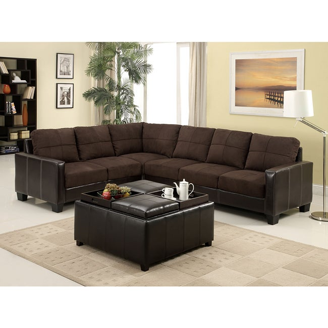 Furniture of America Reese 2-piece Elephant Skin Microfiber and Leather  Sectional Sofa