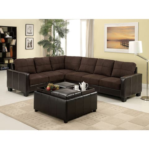 Furniture of America Reese Transitional Espresso 2-piece Sectional